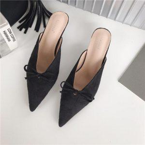 Satin Outside Women Slippers 2020 Summer New Bow Design Pointed Toe Sandals Slides Slip On Mules Shoes Sandals Slides Low Heels
