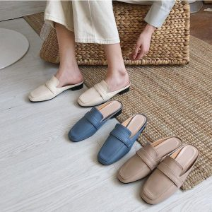 2020 Women Flat Slippers Summer Ladies Leather Slip On Casual Shoes Woman Comfortable Slides Fashion Female Mules Footwear New