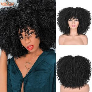 """Short Hair Afro Kinky Curly Wigs With Bangs For Black Women African Synthetic Ombre Glueless Cosplay Wigs High Temperature 14"""""""