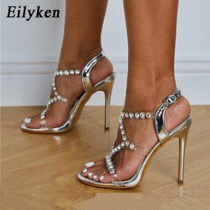 Eilyken Women Wedding Party Shoes Fashion PVC Transparent Crystal Rhinestone Slides Sandals Ankle Buckle Strap Stiletto Heels