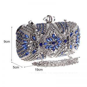 Women Clutch Luxury Party Evening Bag Wedding Purse Crystal Chain Shoulder Bag High Quality Rhinestone Female Blue Clutch