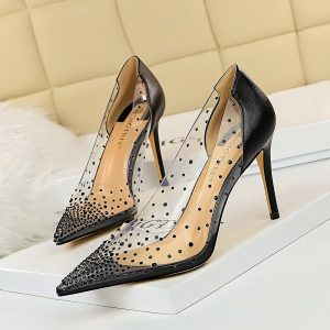 Sexy Transparent Crystal Pumps Shoes for Women Spring Summer Thin High Heel Non-Slip Pointed-Toe Shallow Club Hollow Pump Zapato