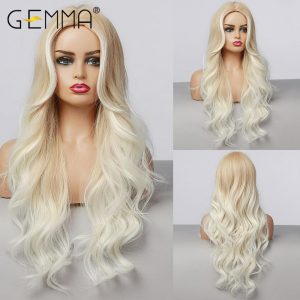 GEMMA Long Body Wave Wigs for Women Ombre Light Brown Blonde Wigs with Highlight Natural Hairline Middle Part Synthetic Hair