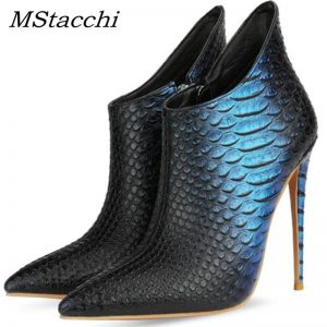 MStacchi Cool Color Matching Pointed Toe Boots Women Tall Fine Heel High Heel Booties Woman Banquet Gorgeous Zipper Botas Mujer