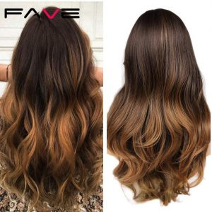 FAVE Long Ombre Brown Wavy Wig Blonde Pink Purple Pink Black Gray Synthetic Wig For Women Cosplay Hair High Density Temperature