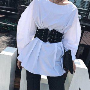 Fashion Black Outwear Metal Aluminum Bucket Girdle Women Winter Out Coats Waist Belt Slim Fitted Elastic Waist