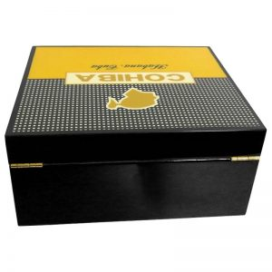 Cohiba High-end Yellow And Black Cigar Cigarette Cedar Wood Case Humidor Travel Cigar Box Holder W/Humidier Hygrometer Humidor