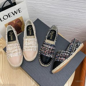 2020 Famous Brand European Patchwork Espadrilles Shoes Woman Genuine Leather Creepers Flats Ladies Loafers White Leather Loafers