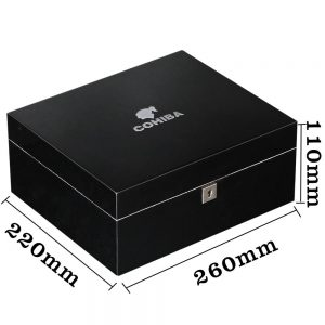 COHIBA Cedar Wood Cigar Box Black Glossy Luxury 30 CT Capacity Home Cigar Humidor Box W/ Hygrometer Humidifier