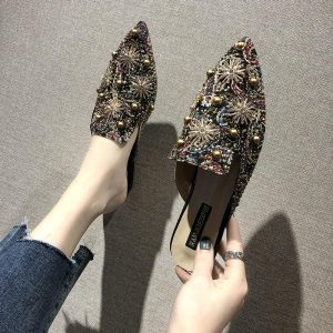 2019 Autumn Casual Shoes Woman Pointed Toe Shallow Mules Women Shoes Floral Rivet Slingback Slip on Ladies Shoes Women Flats
