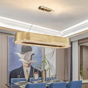 Luxury gold chandelier for dining room rectangle led crystal lamp modern kitchen island cristal lustre indoor lighting fixtures