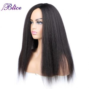 Blice Synthetic Yaki Straight Wig 18-22 Inch Long Hair Side Part Wigs No Bangs For African American Women