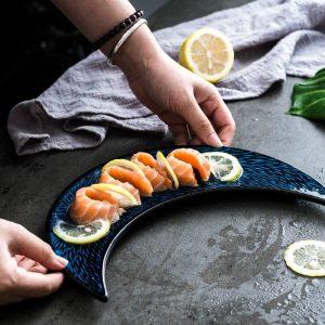 Japanese Sushi Plate Ceramic Creative Moon Shape Dish Snacks Snack Plate Personality Retro Tableware Ceramica Set Plate