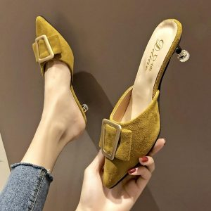 Cover Pointed Toe Women Shoes Woman Slippers Mules Summer New Fashion Solid Flock Buckle High Heels Ladies Casual Shoes Slides