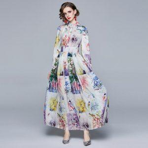 Banulin 2021 Spring Runway Fashion Long Vacation Dress Women Long Puff sleeve Elegant Floral print Chiffon Vintage Maxi Dresses