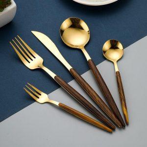 5 Pcs/Set Dinnerware Cutlery Set Cutlery Tableware Stainless Steel Knife Spoon Fork Tableware Silverware Flatware Set Dropshipp