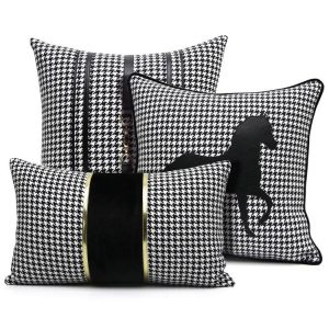 30x50/45/50cm luxury black white houndstooth cushion cover sofa gold leather strip pillowcase decorative throw pillow cover