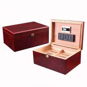 Fashion Wine Red Cigar Box Spanish Cedar Wood Humidor Storage Case With Smoking Accessories Creative High-end Gift For Husband