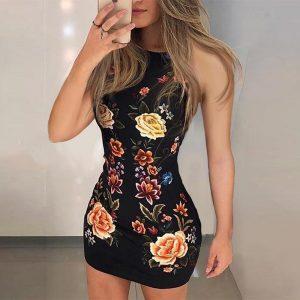 Floral Print Sleeveless Bodycon Dress Women Sheath Mini Club Party Dresses