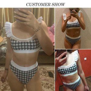 Peachtan High waist swimsuit female Plaid mesh bikini set 2020 Ruffle swimwear women Transparent bathing suit Vintage biquini