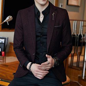 Spring Men's Plaid Blazer Fashion Business Casual Men's Slim Suit Jacket Large Size Casual Banquet Wedding Party Club Dress 5XL