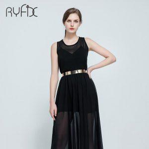 Women Punk Full Metal Mirror skinny Waist Belt 2020 Metallic Gold Plate 3cm Wide Chains Lady ceinture sashes for dresses BL02-2