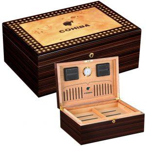COHIBA Cigar Humidor Box Glossy Spainsh Cedar Wood Lined W/ Hygrometer Humidifier Humidor De Puros Box Fit 80-100 Cuba Cigars