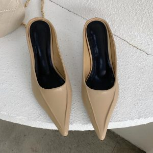 candy color Small Heel Slippers Women Pointed Toe Mules Women Dress Slides Female High Slippers Ladies Elegant Sandals Mules