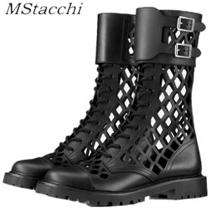 MStacchi Hot Sales Genuine Leather Hollow Out Short Boots for Women Buckle Round Toe Thiick Heels Pumps Ladies Retro Party Shoe