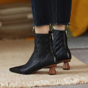 Chelsea Boots Women Shoes Real Leather High Heel Short Boots Pointed Toe Thick Heels Ankle Boots 2020 Autumn Winter Black Shoes