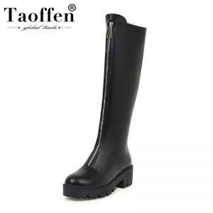 Taoffen 2020 Woman Chunky Heels Knee High Boots Round Toe Black Platform Round Toe Zipper Long Boots Footwear Size 34-43
