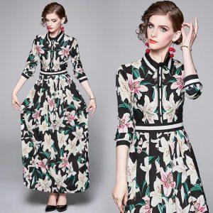 Banulin Spring Autumn Runway Floral Dress Women's Long Sleeve Chic Lily Print Elegant Long Maxi Dress robe longue femme ete
