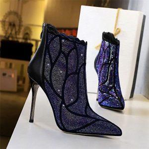 2020 Women Rhinestone Boots 10.5cm Super High heels Fashion Sexy Crystal Metal Heels Stiletto Boots Glitter Luxury Design Shoes