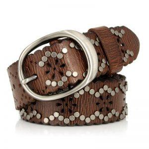 Women Rivet belts Punk Rock Style Female belt For Lady Genuine Leather Cowskin Leather Buckle Wide Hollow Out Belt For Jeans