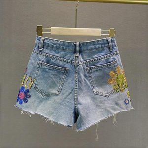 Streetwear Sun flower Hot Drill Letter High Waist Denim Shorts Women Summer Fashion Wide Leg Jeans Shorts