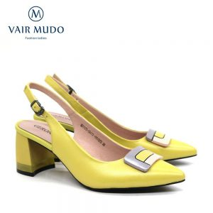 VAIR MUDO 2020 Fashion Thick Heel Pumps Shoes Women Genuine Leather Yellow Pointed Buckle Ladies Top Quality Single High HeelD61