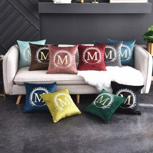 45cm American luxury cotton embroidery H letters pillowcase without core, Nordic M letters pillowcover living room sofa cushion