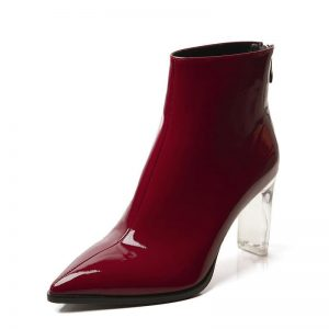 VIISENANTIN Bright Leather Transparent Crystal Heel Boots Lady Back Zipper Pointed Toe Single Boots Fashion Martin Boots Women