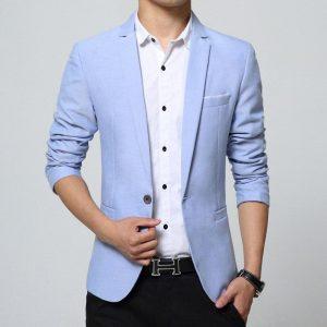BROWON Spring Autumn Casual Men Blazer Designs Slim Fit Blazers One Button Easy Care Long Sleeve Blazers Men Suits Plus Size 5XL