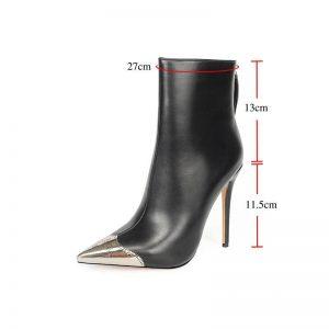 MORAZORA 2020 big size 43 women ankle boots metal toe autumn winter booties zip sexy super high heels party wedding shoes woman