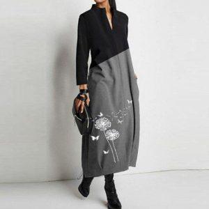 2021 Spring Autumn Dandelion Print A-Line Dress Women Elegant Long Sleeve Party Dresses Ladies New Casual Loose Dress Vestidos
