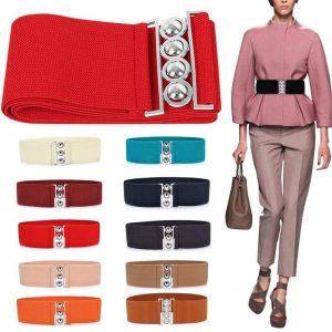 Women Simple Elastic Wide Waist Belt Riem Slimming Red White Belt Female Retro Lady Belts For Women Waistband Women Accessories