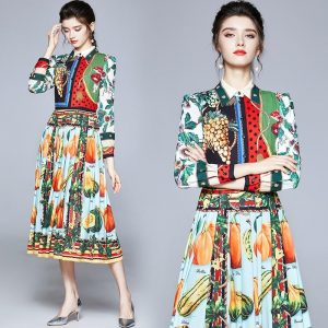Banulin Runway Fashion Designer Fruit Vegetable Printing Dress 2020 Autumn Women Long Sleeve Vintage Pleated Shirt Dresses