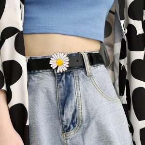 Summer New Fashion Women Leather Belt Personality Daisy buckle Female Waist Strap Casual Ladies Trousers Jeans Black Waistband