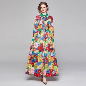 Runway Designer Floral Long Dress 2021 Spring Fashion Women's Long Sleeve Vintage Print Casual Maxi Dress Vestido De Festa