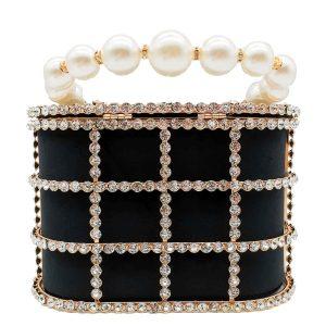 Boutique De FGG Diamonds Basket Evening Clutch Bags Women Luxury Pearl Beaded Metallic Cage Handbags Ladies Wedding Party Purse