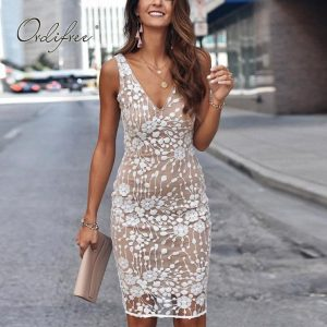 Ordifree 2020 Summer Women Sleeveless Party Dress Club Wear White Gold Sexy Bodycon Sequin Pencil Dress