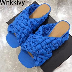 Braided Slippers Woman Flat lazy Mullers hand Woven Casual Beach Shoes ladies sandals 2020 Summer outside wear flipflops Female