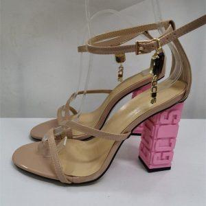 2020 New Design Letter Heel Sandals Women Metal Letter Rhinestone Crystal Strap Strange Heel Summer Shoes Woman Plus Big Size