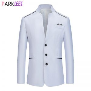 Stand Collar White Dress Blazer Men 2020 Brand Slim Fit Single Breasted Tuxedo Blazers Mens Wedding Groom Party Costume Homme